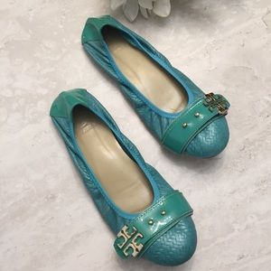 """Tory Burch """"Elina"""" Flats Teal & Gold Leather"""